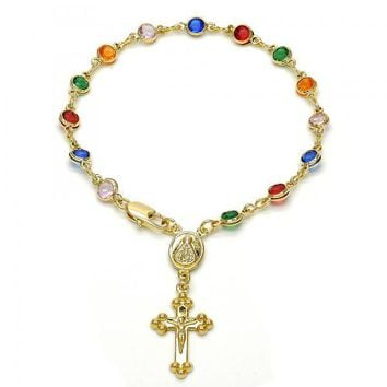 Gold Layered 09.63.0115.08 Bracelet Rosary, Caridad del Cobre and Crucifix Design, with Multicolor Cubic Zirconia, Polished Finish, Golden Tone