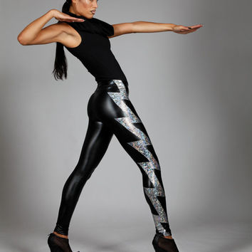 Holographic Lightning Bolt Leggings, Black Leather Spandex Pants, Silver Hologram, Rock Star Stage Wear, Heavy Metal Clothing, by LENA QUIST