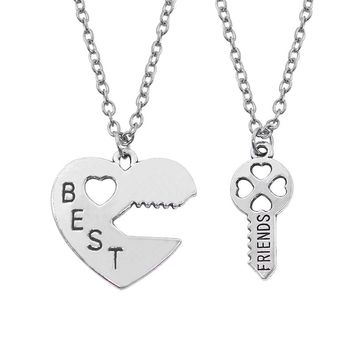 Fashion Heart Best Friends Necklace Women 2 Pcs/Set Hollow Hearts Love Key Splicing BFF Necklaces & Pendants Jewelry Gift Collar