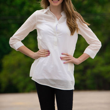 SALE-Piko 1988-Button Down Tunic Top-Off White