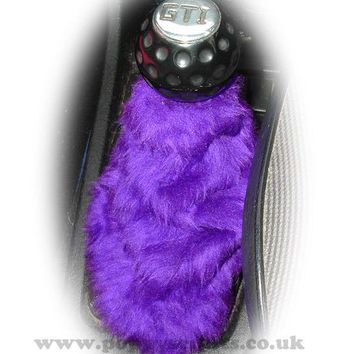 Dark Puple fuzzy faux fur gear stick gaiter cover