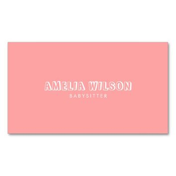 Pastel Pink and Mint Babysitter Nanny Business Card