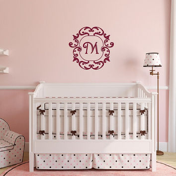 Wall Decal Monogram Damask Frame Style A Nursery Girls Room Vinyl Wall Decal 22505
