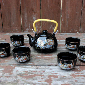 Vintage Porcelain Tea Set | Six Cups and Tea Pot | Set of 7 | Best Quality Porcelain