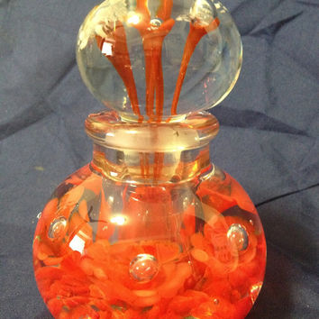 Blenko Artist Bill Knight Red Flowers Clear Glass Paperweight Perfume Bottle