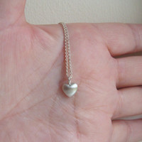 Tiny Puffy Heart Necklace  love pendant in sterling silver mom Christmas Halloween