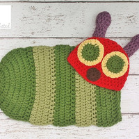 Newborn Very Hungry Caterpillar hat and cocoon - Newborn photography prop, newborn boy, newborn girl, crochet newborn hat and cocoon