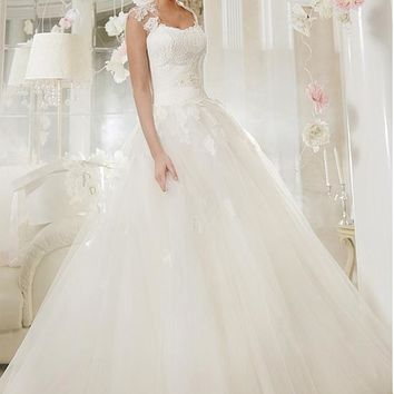 [124.99] Stunning Tulle Queen Anne Neckline A-line Wedding Dress With Lace Appliques - dressilyme.com