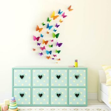 30pcs 3D Butterfly Wall Stickers Home DIY Decor Wall Decals For Living Room, Bedroom, Kitchen, Toilet, Kids Room Decorations