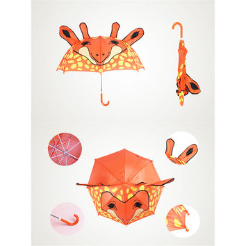 Cute Cartoon Animal Umbrella for Kids Animal Ears Bend Handle  giraffe