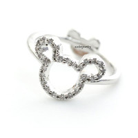 Cute Mickey Mouse Ring detailed with CZ in  gold / silver, R0315S