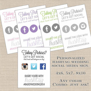 Wedding Hashtag Sign Printable // Social Media // Instagram, Facebook, Twitter