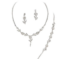 Elegant 3 Piece Crystal Bridesmaid Bridal Y Drop Necklace Earring Bracelet Set Wedding Bling O1