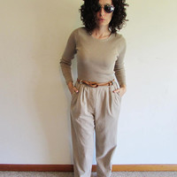 90s Taupe Mom Hipster Pant Jumpsuit