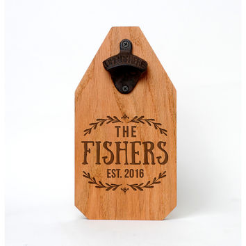 Wedding Gift - Personalized Beer Bottle Opener Wood Sign - Rustic Wedding Gift