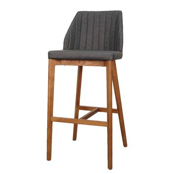 Tory Bar Stool Walnut Legs, Antique Gray