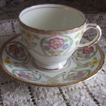 Sutherland English Bone China, Pretty Multi Floral Vintage Teacup and Saucer, 1930's, Lovely Bridal Shower Gift