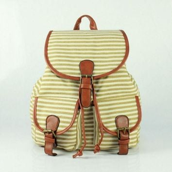 Day-First™ Cute Sweet Striped Travelling Bag College School Bag Canvas Backpack Daypack