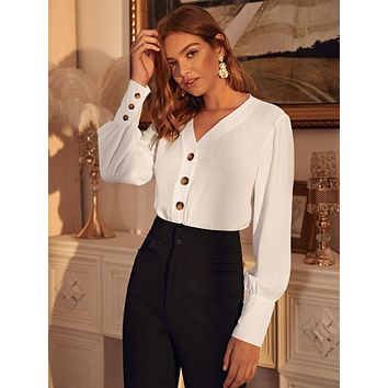 Solid Bishop Sleeve Button Front Blouse