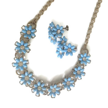 Vintage Blue Floral Necklace Set with Matching Screwback Earrings Little Blue Flowers and Rhinestone Jewelry