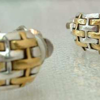 Two-Tone Basket Weave Clip On Hoop Earrings Vintage Jewelry