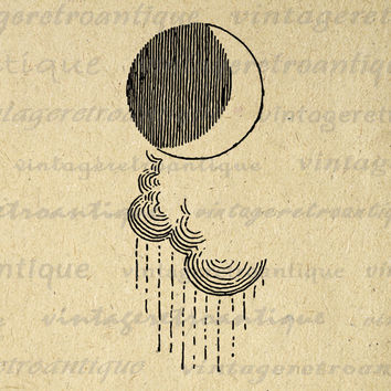 Digital Printable Clouds and Moon Download Raincloud Image Graphic Vintage Clip Art for Transfers Printing etc HQ 300dpi No.872
