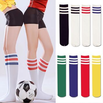 Sexy Women Color Classic Striped Cotton Tube Socks Knee High 3 Line Solid Socks