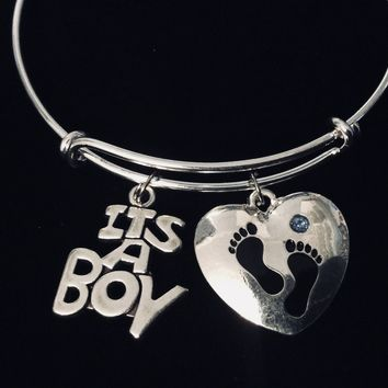 It's A Boy Blue Baby Footprints Expandable Charm Bracelet Silver Adjustable Wire Bangle New Mom Jewelry Gift