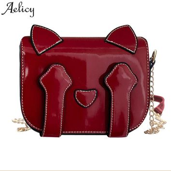 Aelicy 2018 Shoulder Bags Printed Cartoon Cats PU Leather Hasp Solid Shoulder Bags Small Casual Cross body Cute Flap Bags