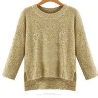 Long Sleeve Round Neck Bling Knit Sweater