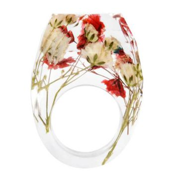 New Transparent Forest Handmade Dried Flower Resin Ring Colorful Ink Pattern Scenery for Women Fashion Jewelry 2017 Dropshipping