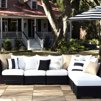 Palmetto All-Weather Wicker Sectional - Black