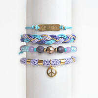 Set of four stacking bracelets, hippie bracelet stack, be free bracelet set, peace sign bracelet, arm candy