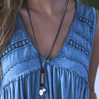 In The Air Turquoise Double Feather Rope Necklace