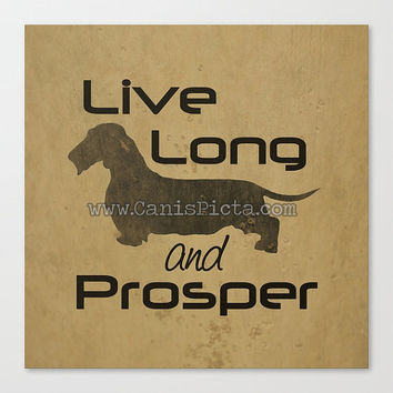Star Trek Dachshund 8x8 Pop Art Live Long and Prosper Dog Wall Home Decor Tan Beige Wire Hair Coat Doxie Trekkie Spock Geek Distressed