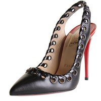 Christian Louboutin 0091 Womens Ostri String 100 Black Pumps Shoes 37 BHFO