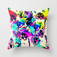 Moggy Meowzas Mazuni Stylee Throw Pillow by MADAME MAZUNI