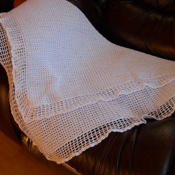 Crocheted Baby Blanket / Afghan, White Christening Shawl, Baby Comforter, Granny Square