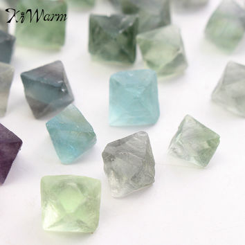 230g Blue Green Fluorite Octahedron Crystals Stones Healing Stones for Aquarium Fish Tank DIY Materials Ornaments Craft