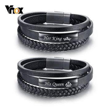 Vnox His Queen and Her King Couple Bracelets Black Braided Genuine Leather Promise Love pulseira Gifts