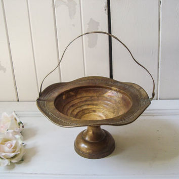 Vintage Brass Pedestal Dish with Handle, Ornate Metal Basket, Patina Distressed Decorative Dish, Rustic Farmhouse Decor, Cottage Chic