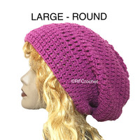 Spring Sale - Free USA Shipping | Large Violet Purple Slouchy Beanie | Women | Adults | Spring Color | Locs | Dreads | Crochet Hat