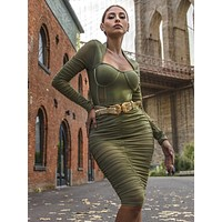 Samant Olive Green Mesh Long Sleeve Ruched Dress