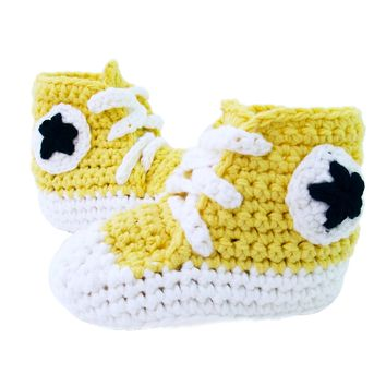 Crochet Baby Booty Yellow Slippers Sneakers Chuck Taylors