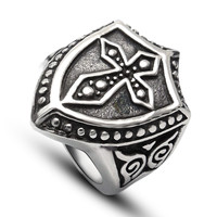 Men Ring Titanium Strong Character Vintage Cross A4 Size Rack [6542629891]
