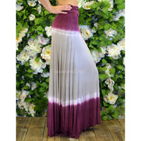 Just Beachin' Burgundy Tie Dye Maxi Skirt