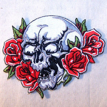 SKULL ROSES EMBRODIERED PATCH jacket ladies biker P474 bikers novelty patches
