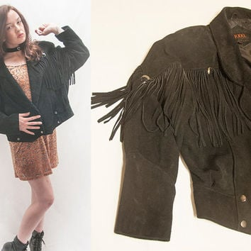 80s Black Suede Fringe Jacket Womens Large or Mens Small by G4000 | Native American Indian Genuine Leather Cropped Jacket w/ Western Conchos