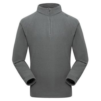 High Quality Men's 1/4 Zip Thermal Fleece Pullover Sweatshirts Snap Polar Fleeced Pullovers Outerwear Jackets Coat