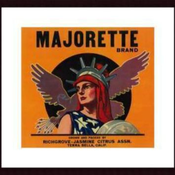 Majorette Orange Label, 1930, framed black wood, white matte